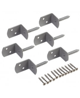Kit 6 équerres Inox de fixation section 30x30mm en L avec vis Ø 4x30mm