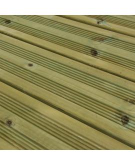 Lame de terrasse Pin traité classe 4 Vert finition double peigne 27x145mm